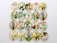 18x25mm Wildflowers Handmade glass cabochons | 10pcs | Mixed designs