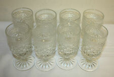 Vintage Anchor Hocking Wexford Pressed Glass Footed Wine Water Glasses Lot 8