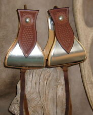 "New Wide USA Made 5"" Metal Bound Bell Stirrups + Brown Basket Weave Tooling. G&E"