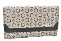 Authentic CELINE C Macadam Pattern Wallet Canvas Leather Beige Brown A5218