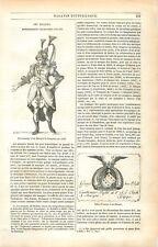 Personnage d'un Masque de Campion 1606 Billet d'entrée Théâtre UK GRAVURE 1849