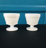 Vintage Milk Glass Dessert Dish Pedestal EUC Set of 2 Ice cream