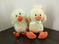 Lot of 2 Plush Animals 1 - duck 1- chick - Stuffed toys