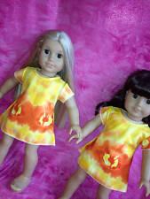 "Yellow Tie Dye Mini Dress Fits American Girl Doll Clothes 18"" Boho Hippie USA"