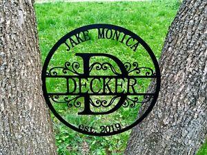 Personalized Est Family Name Metal Sign Custom Split Letter Door Hanger Monogram
