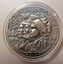 1 oz .999 Silver Pilgrims Frontiers  Antiqued  Round BU   In Airtite