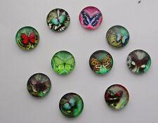 Color de la mezcla de vidrio cabujón de imagen de la mariposa colgante de bricolaje decoración de jardín 12mm #1