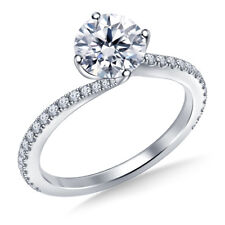 1.00 Ct Diamond Engagement Beautiful Ring 9k White Gold Stylish Rings Size G