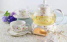 Tea Maker Teapot Porcelain Warmer Candle 2 Cup Set Pot 27 oz Saucer Spoon