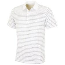 Greg Norman Hombre Micro Pique Rayas Negras Polo de Golf - Blanco - S
