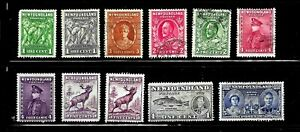 HICK GIRL- BEAUTIFUL USED NEWFOUNDLAND STAMPS   1931-38  ISSUES        D1238