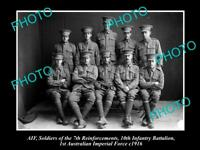 OLD LARGE HISTORICAL PHOTO OF AIF ANZACS, 10th INFANTRY BATTALION R/I c1916