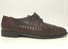 Sesto Meucci Oxford Shoes Brown Woven Leather Lace Up Womens Size 6.5