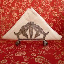 rare old Yemenite style filigree sterling silver fish shaped paper napkin holder