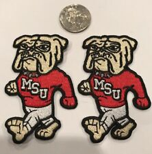 """(2)-MSU Mississippi State UNIVERSITY BULLDOGS Embroidered Iron On Patches 3""""x 2"""""""