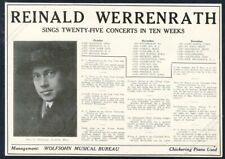 1918 Reinald Werrenrath photo opera singing recital booking trade print ad