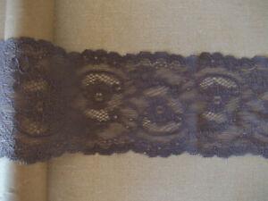 2.5m Grey Gunmetal Dark Grey STRETCH Lace floral shaped slightly textured