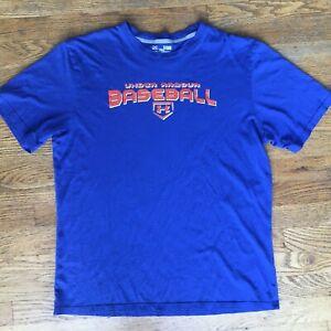Under Armour Blue BASEBALL T-Shirt  Orange Logo Regular Fit Heat Gear Size XL-L