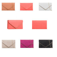 Women Faux Leather Envelope Clutch Bag Evening Party Prom Bridal Wedding Purse