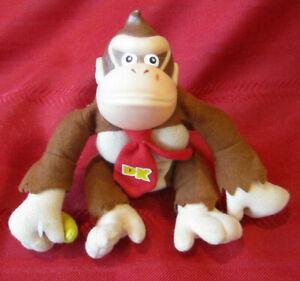 "1999 ToySite N64 Donkey Kong 7"" Nintendo Beanie Plush Figure Toy Plastic Head"