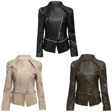 Women Slim Stylish Rivet Long Sleeve Zip PU Faux Leather Jacket Overcoat Blazer