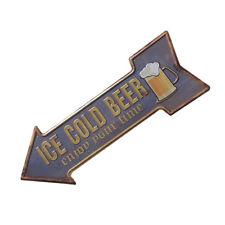 Hand Painted ICE COLD BEER Arrow Cast Iron Metal Sign Door Gate Art Decor 1