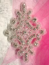 """Applique Crystal Glass Rhinestones Black Beads 4/"""" Sewing Crafts Patch XR298"""