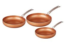 CONCORD 3 Piece Ceramic Coated Cookware -Copper- Frying Pan Induction Compatible