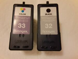 Lot of Lexmark 32 33 Empty Ink Cartridges 1 Black/1 Tri-Color, Ready for Refill
