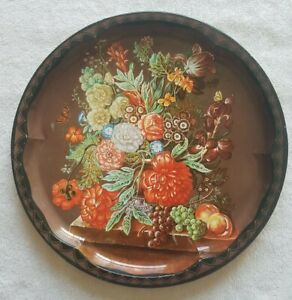 Daher Long Island NY Decorated Ware Decorative Metal Tray Fruit Flowers Vintage