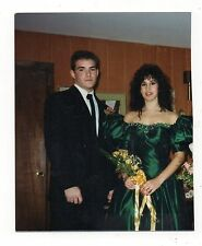 Vtg Photo Handsome Young Man, Pretty Woman, Green Dress, Couple, 1990's, Mar16