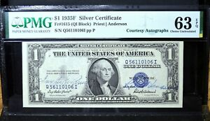 1935-F $1 ✪ PMG CH-63 EPQ ✪ FR-1615 AUTOGRAPH PRIEST ANDERSON DOUBLE ◢TRUSTED◣