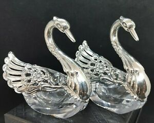 Vintage Sterling Silver and Crystal Swan Salts Made in Germany Signed AB