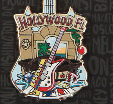 Hard Rock Cafe Pin HOLLYWOOD FL City T building facade slot machine GUITAR lapel