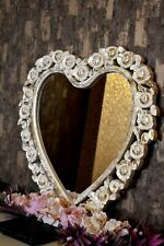 New Heart Hand Carving Wooden Mirror Frame White Color With Golden Foil Finish