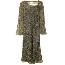 Vtg Talbots Women's 100% Silk Animal Print Slip On Sheath Dress Sz 8 Brown Korea