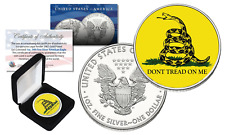 Don't Tread On Me GADSDEN USA FLAG 2016 1 oz. PURE AMERICAN SILVER EAGLE w/BOX