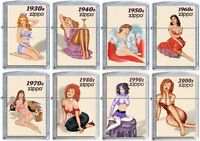 Zippo Windy Pinup Girl Nose Art 8 Lighter Set 30s 40s 50s 60s 70s 80s 90s 2000s