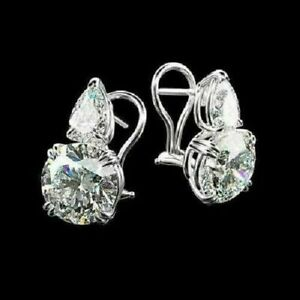 4.50Ct Round Cut Moissanite Solitaire Stud Earrings Solid 14K White Gold Finish