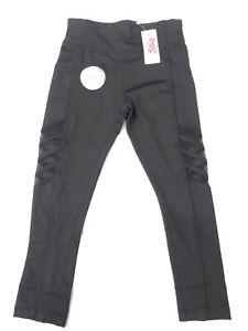 New! Justice Girls Mesh Stripe Leggings Black Color Sizes: 6/7/8/10 MSRP: $24.95