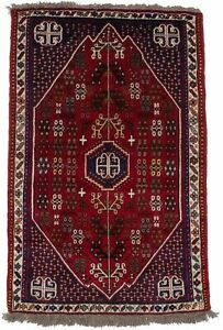Vintage Style Tribal Design Red 3X5 Farmhouse Handmade Area Rug Oriental Carpet