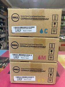Original Dell XXL Toner CMY für C3760N C3760dn C3765dnf 3x 9.000S. A-Ware