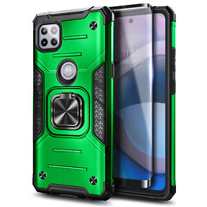 For Motorola One 5G Ace Case, Shockproof Ring Stand Case with Tempered Glass