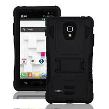 For LG OPTIMUS L9 P769 MS769 Black Rugged Hybrid Tuff Armor Box Stand Case Cover
