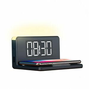 Cargador inalambrico con reloj despertador, carga rapida 10W con luz