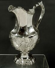 William Gale Silver Water Pitcher 1858 Hand Decorated
