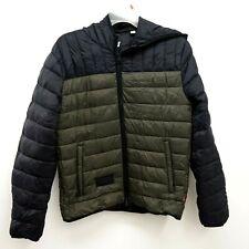 New Levi's Mens Hiking Black Green Puffer Zip Up Winter Jacket Coat Size Medium