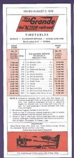 1979 Rio Grande Railroad Time Tables / Schedules