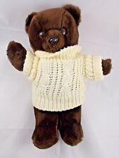 "Prestige Brown Bear Plush 13"" 1985 Korea w/ Sweater"