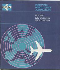 BRITISH MIDLAND VISCOUNT SAFETY CARD FLIGHT SOUVENIR CABIN CREW PICS AIRWAYS BMA
